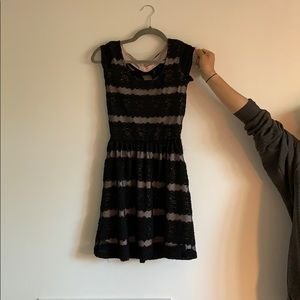 Dresses & Skirts - Cute black mesh dress with bow!